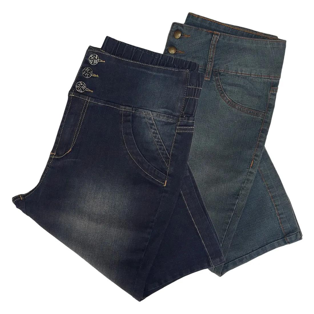 Kit c/ 2 Bermudas Jeans Fem Capri Plus Size Cint.Alta Tam 44