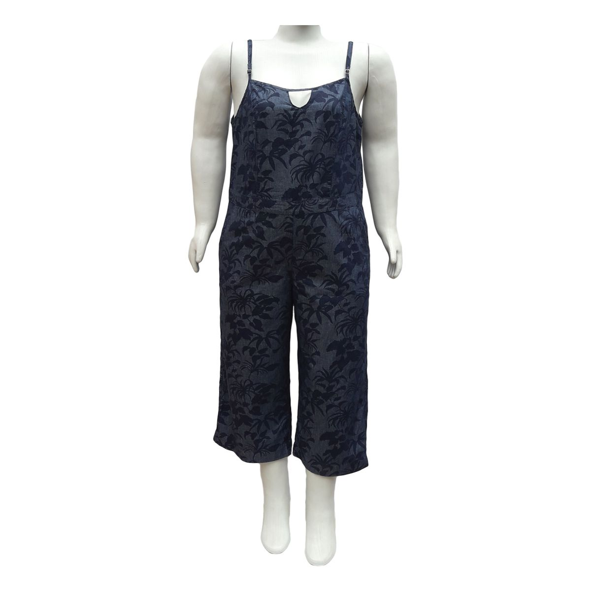 Macacão Pantacourt Jeans Plus Size