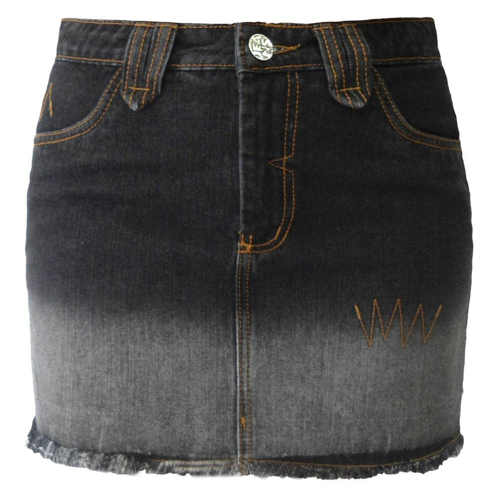 Mini Saia Jeans Preto Degradê