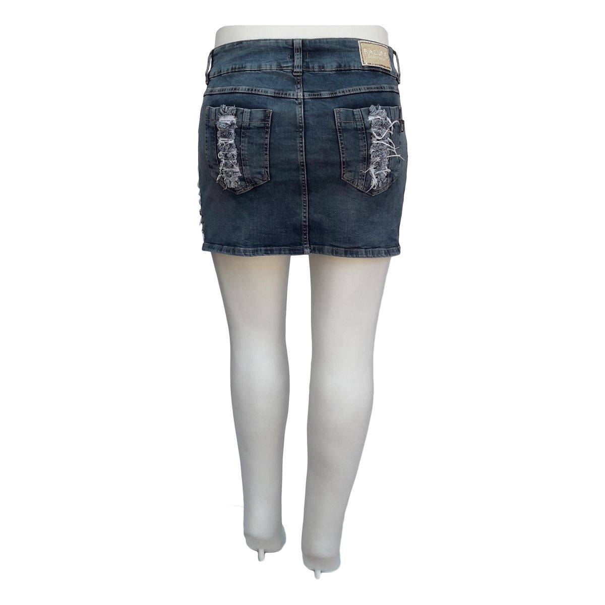 Mini Saia Jeans Rasgada Plus Size