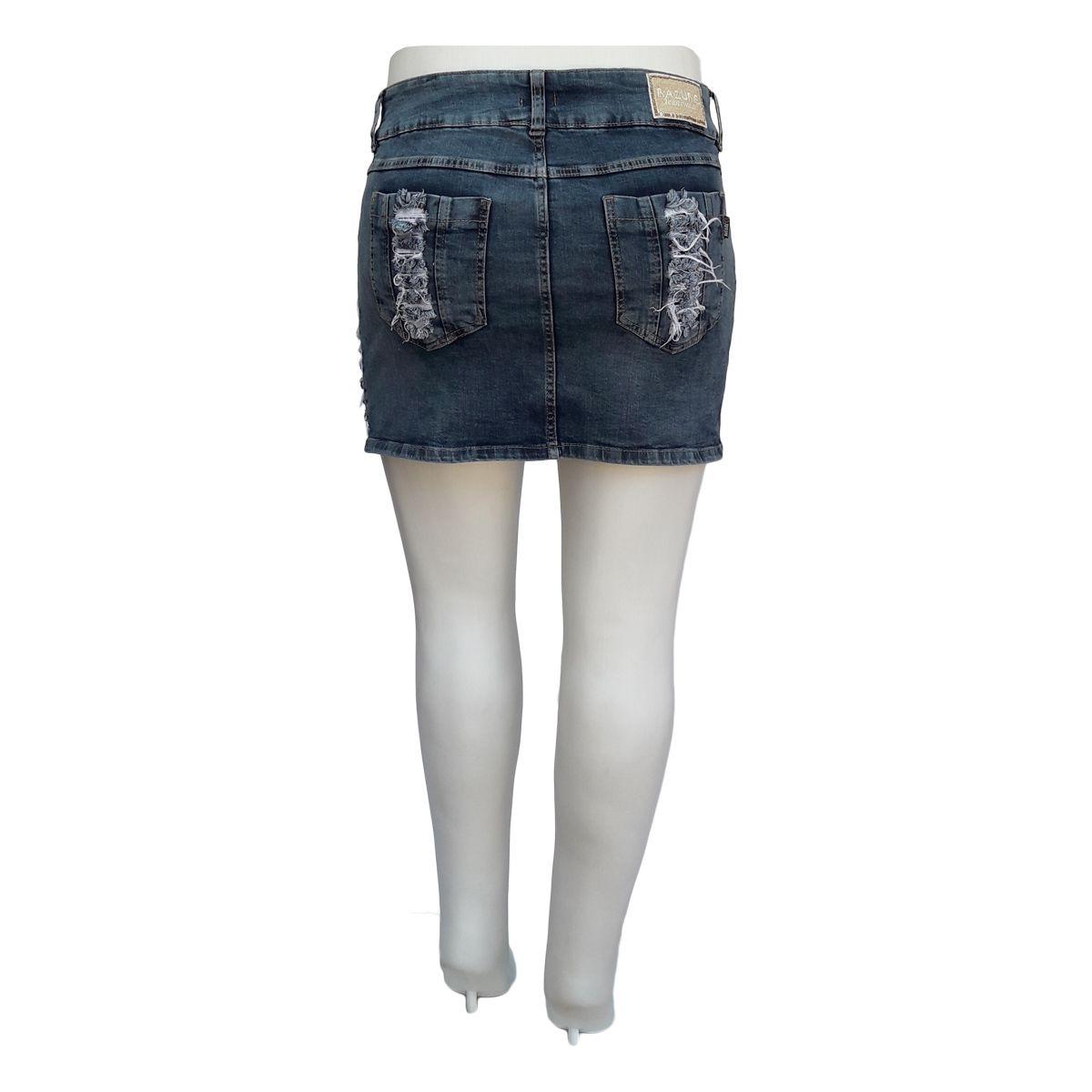 Mini Saia Jeans Rasgada Plus Size