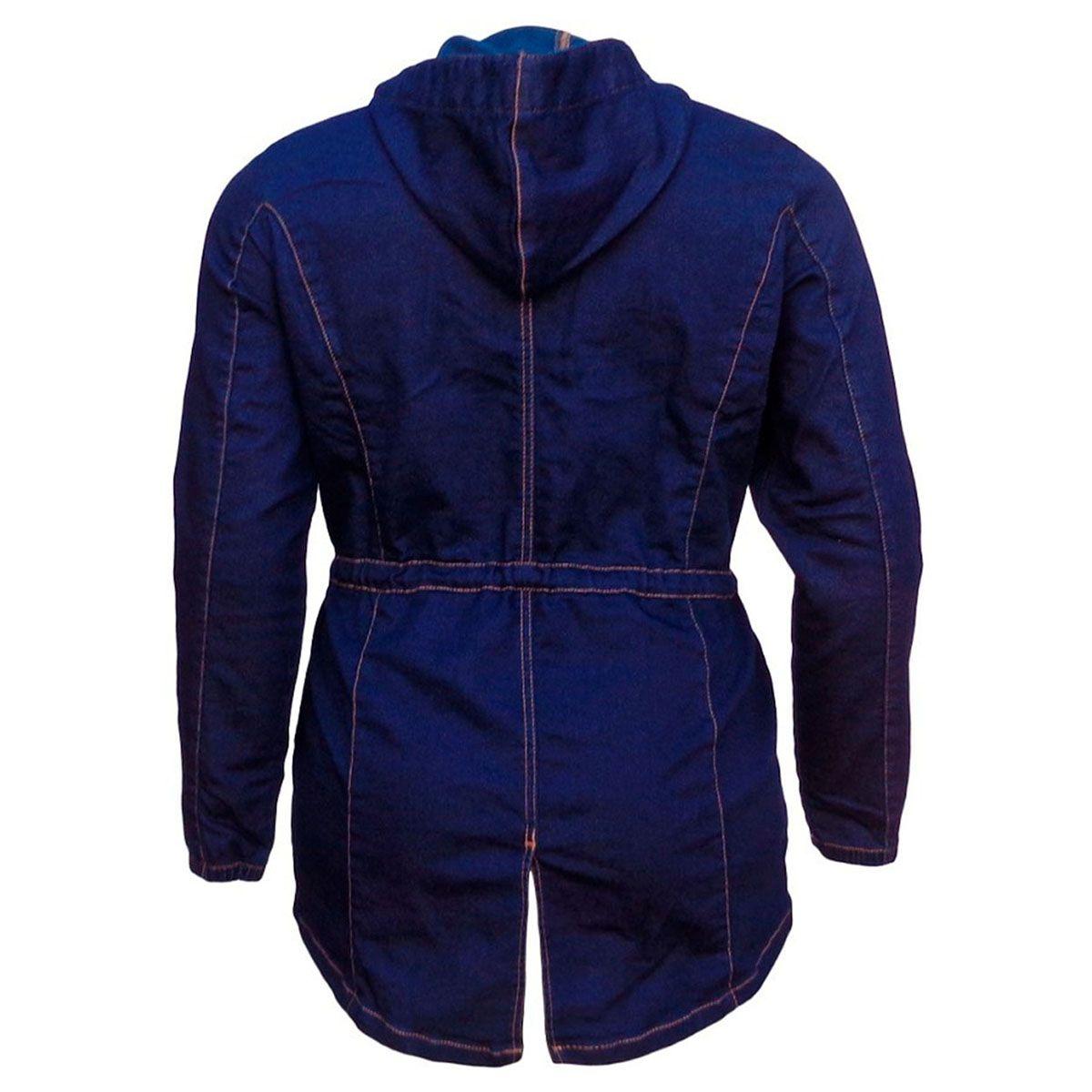 Parka Jeans Malha Denim Feminina C/ Capuz Plus Size