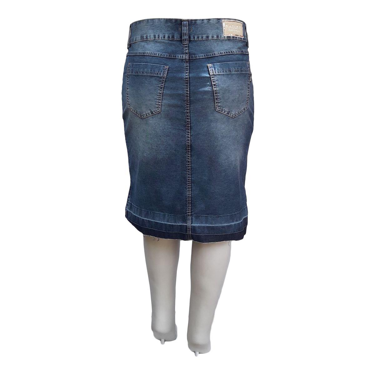 Saia Jeans Evangélica Barra Desmanchada Plus Size