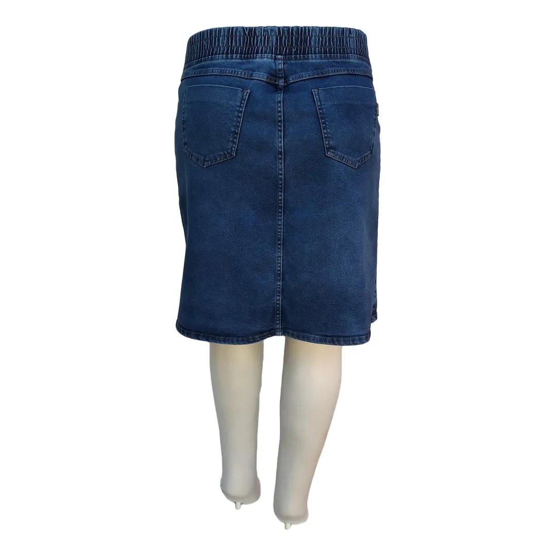 Saia Jeans Evangélica c/ Elástico Cós Traseiro Plus Size