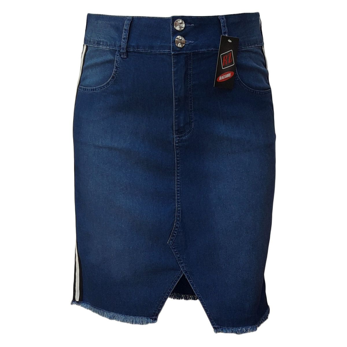 Saia Jeans Evangélica Com Fenda E Listra Plus Size