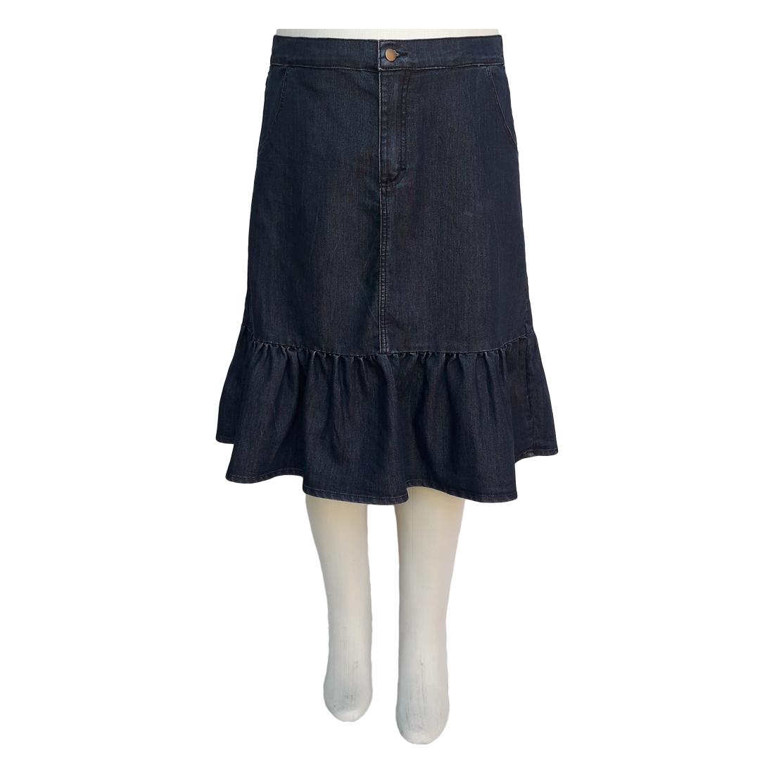 Saia Jeans Evasê Barra Franzida Moda Evangélica Plus Size