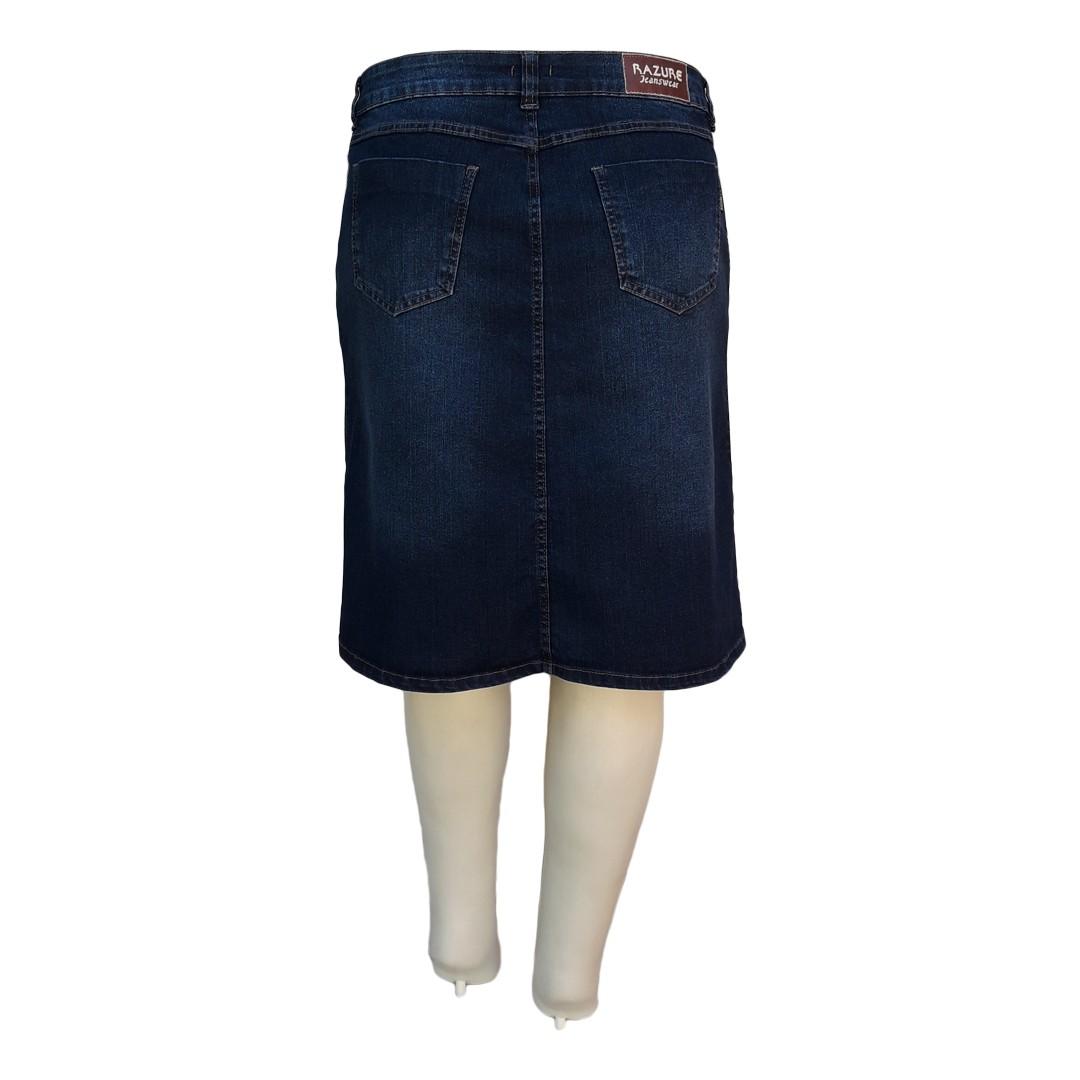 Saia Jeans Evasê Moda Evangélica Plus Size