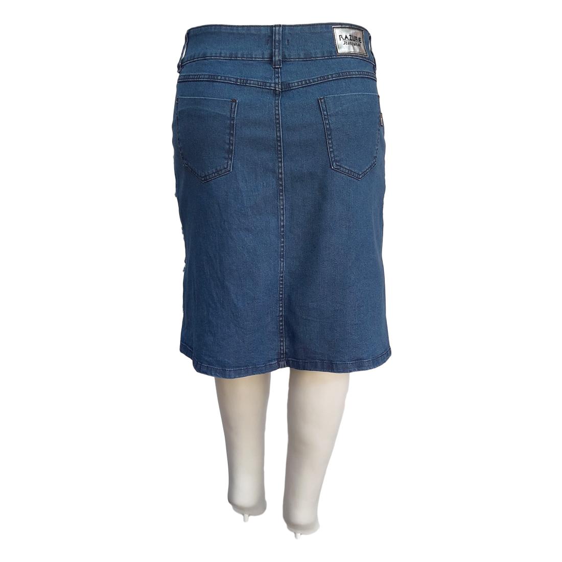 Saia Jeans Evasê Rasgada Moda Evangélica Plus Size