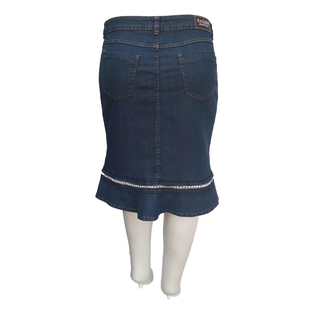 Saia Jeans Jabô Moda Evangélica Plus Size