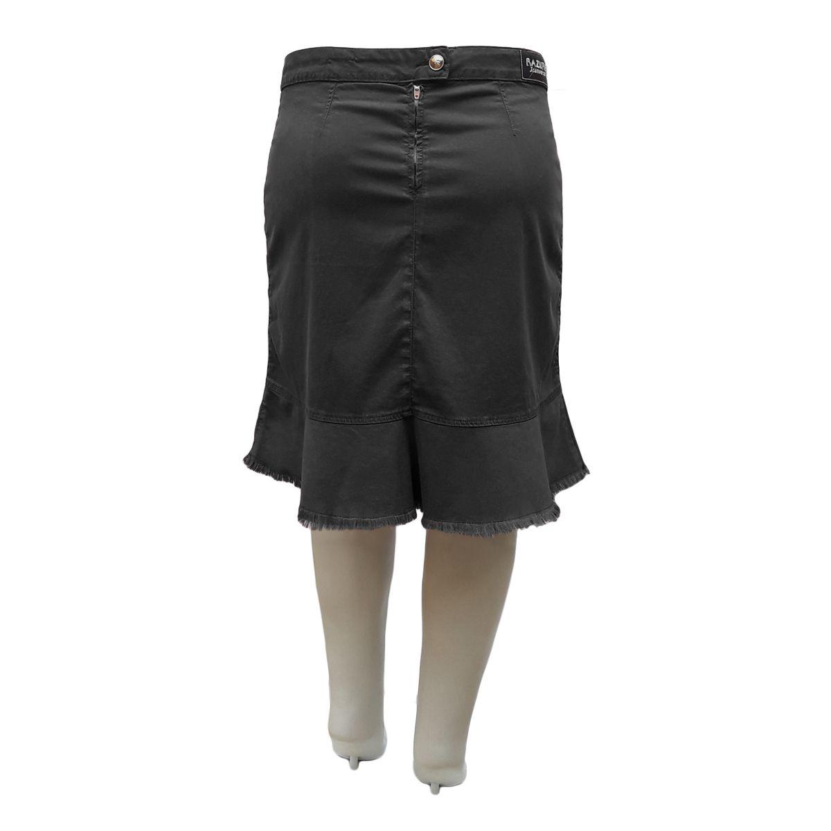 Saia Jeans Liocel Evangélica Transpassada Plus Size Preta