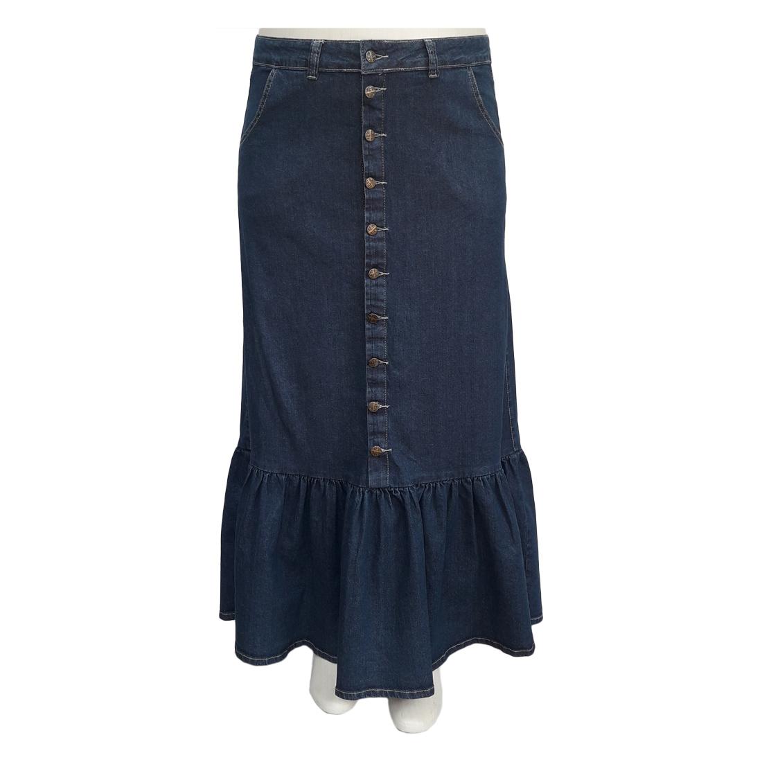 Saia Jeans Longa Barra Franzida Plus Size Moda Evangélica