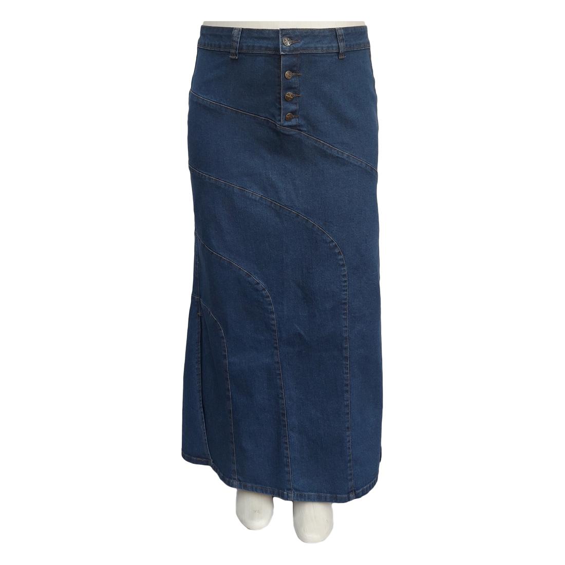Saia Jeans Longa Fendas Laterais Plus Size Moda Evangélica