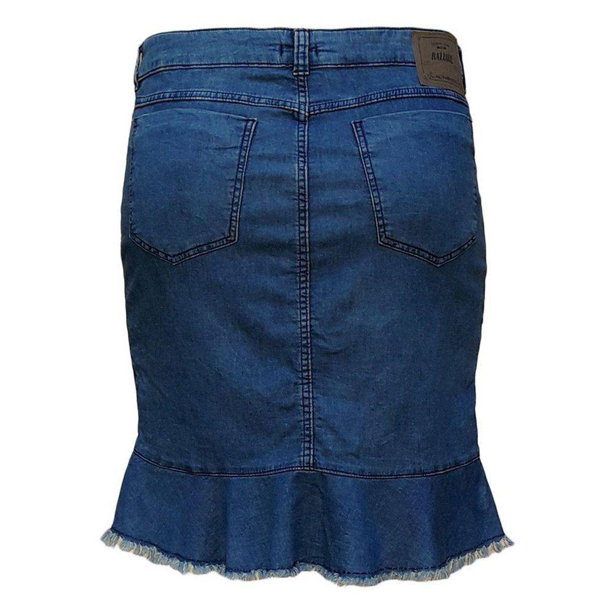 Saia Jeans Malha Denim Evangélica Plus Size