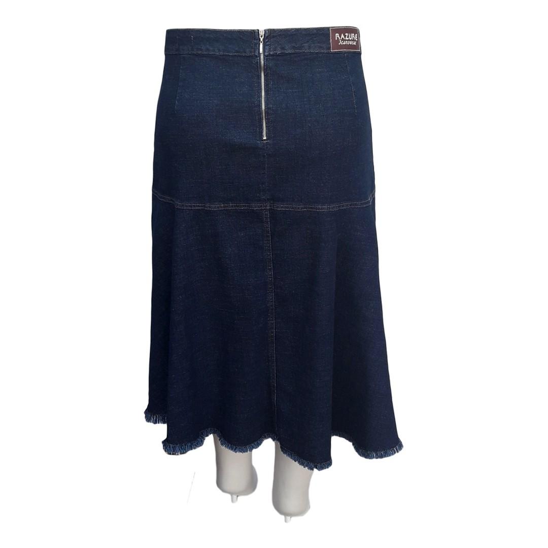 Saia Jeans Midi Pala Moda Evangélica Plus Size