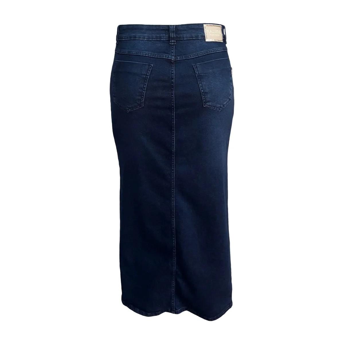 Saia Jeans Moda Evangélica Longa Plus Size