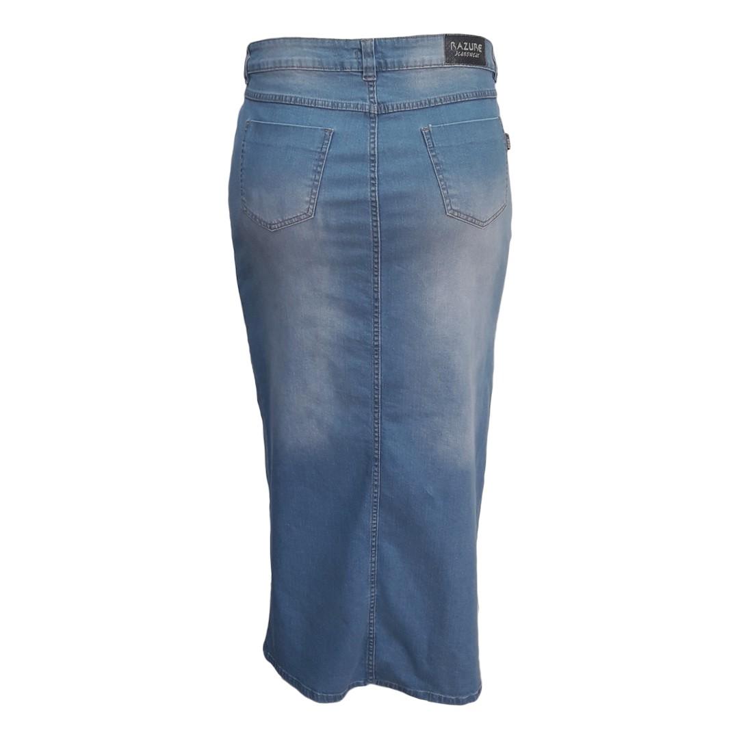 Saia Jeans Moda Evangélica Longa Plus Size Delavê