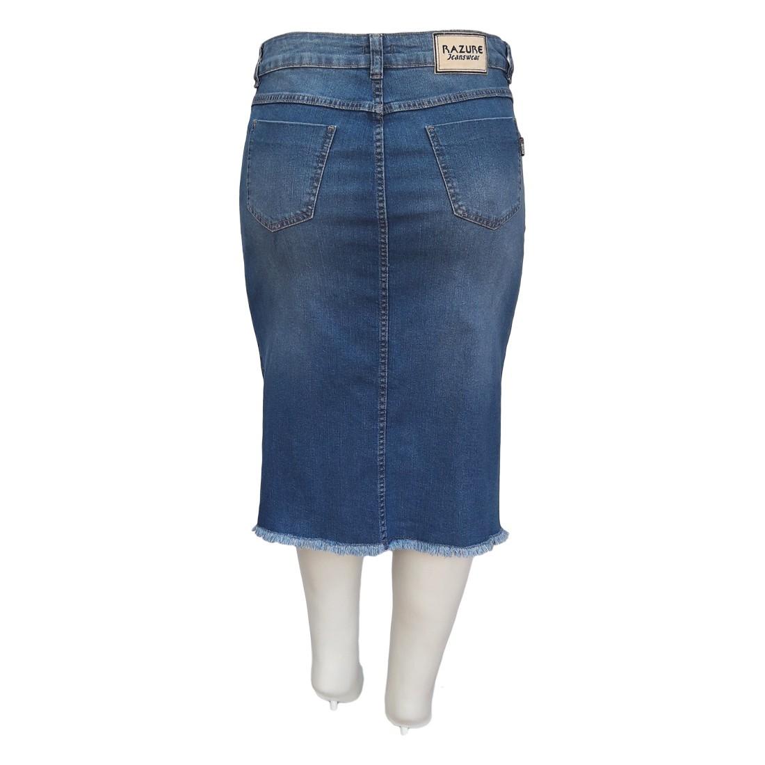 Saia Jeans Plus Size Barra Desfiada Ref 01 Moda Evangélica