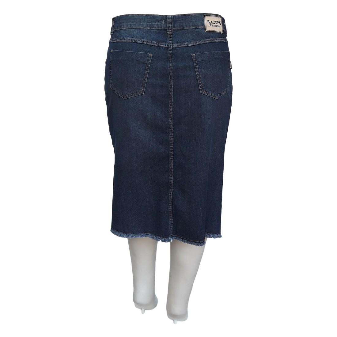 Saia Jeans Plus Size Barra Desfiada Ref 02 Moda Evangélica