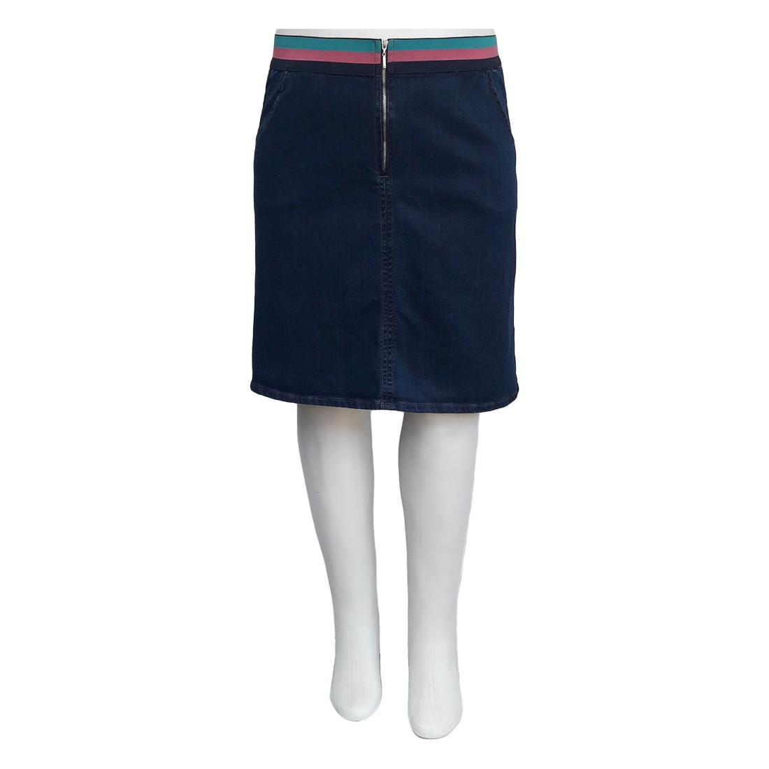 Saia Jeans Plus Size Elástico Color Moda Evangélica