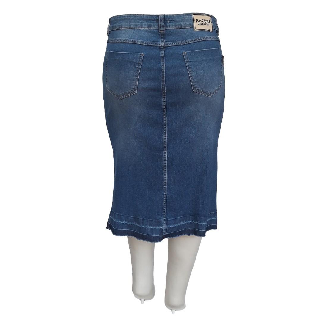 Saia Jeans Plus Size Moda Blogueira