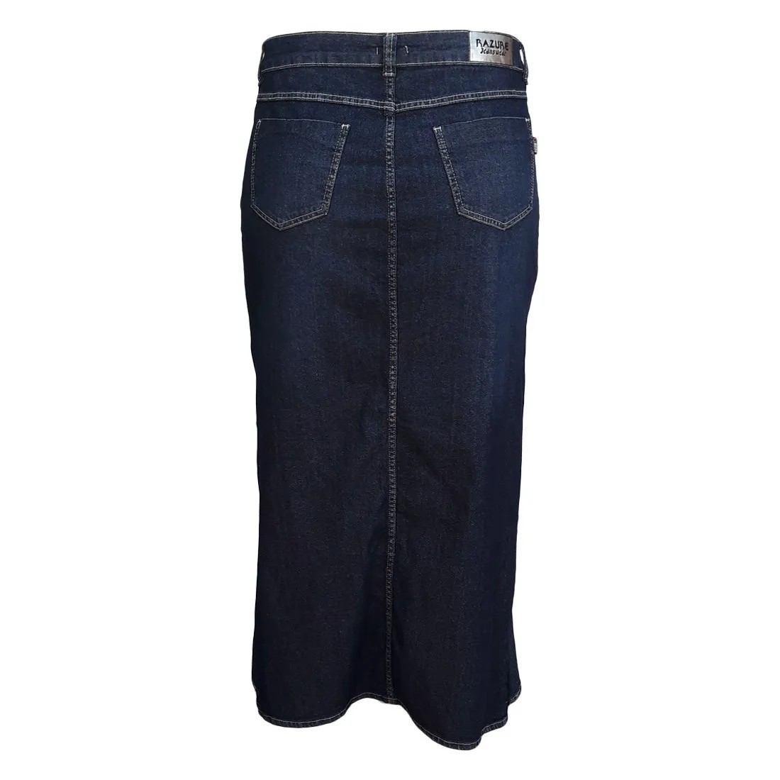 Saia Jeans Moda Evangélica Longa com Babado Plus Size