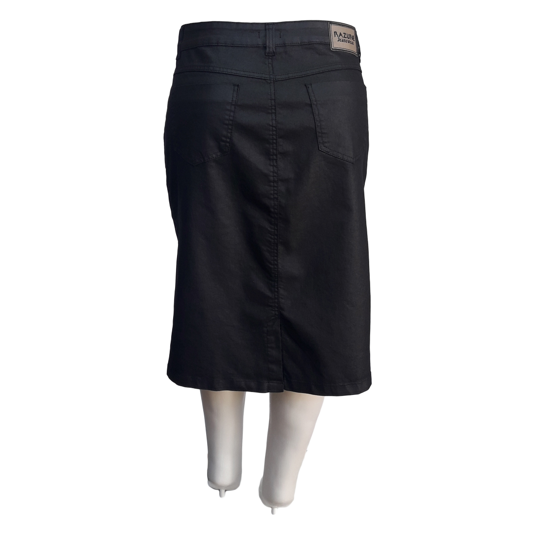 Saia Jeans Resinada Moda Evangélica Plus Size