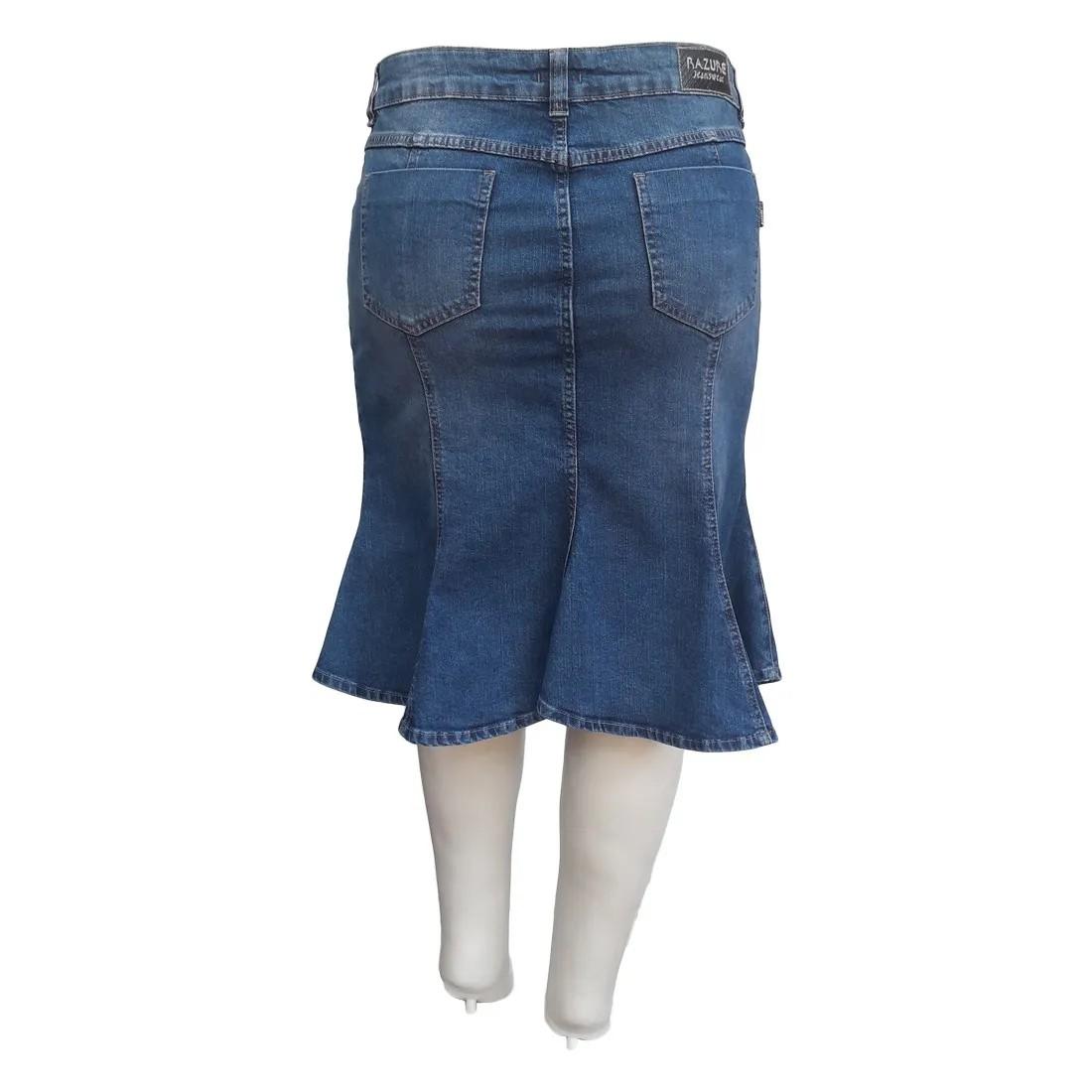 Saia Jeans Sereia Plus Size Moda Evangélica