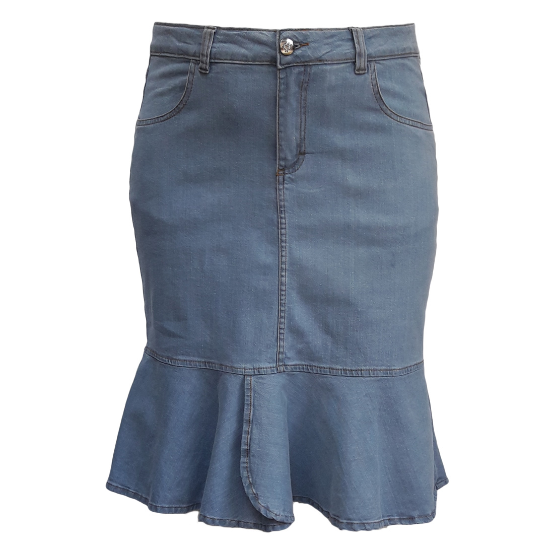 Saia Jeans Sino Plus Size Moda Evangélica