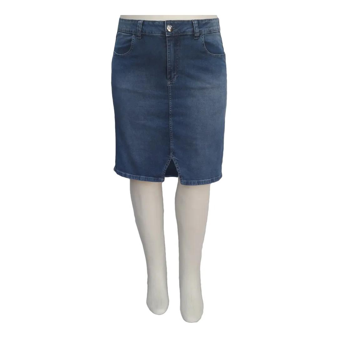 Saia Jeans Tradicional Moda Evangélica Plus Size