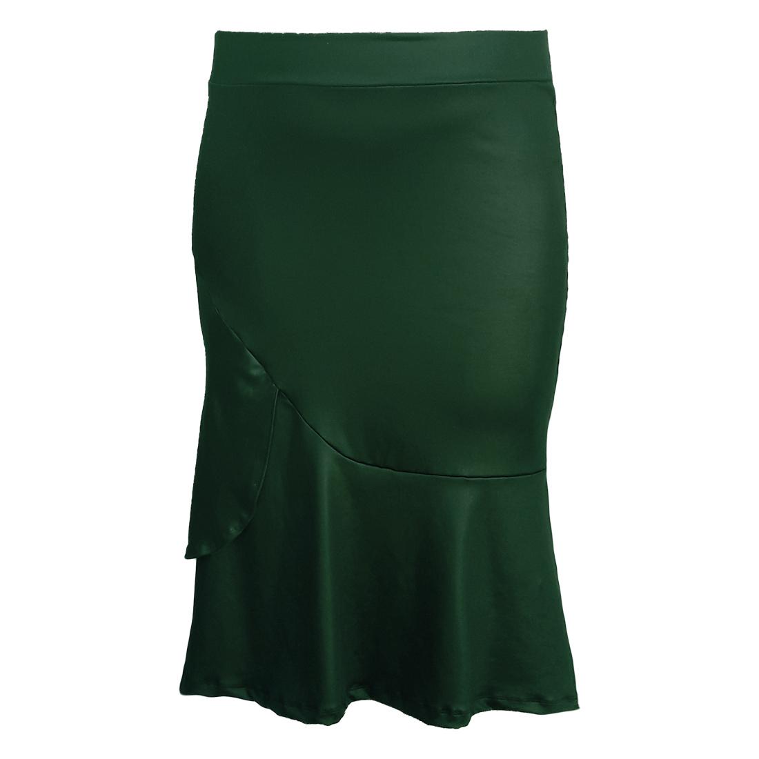 Saia Midi Sino em Cirre Verde Moda Evangélica Plus Size