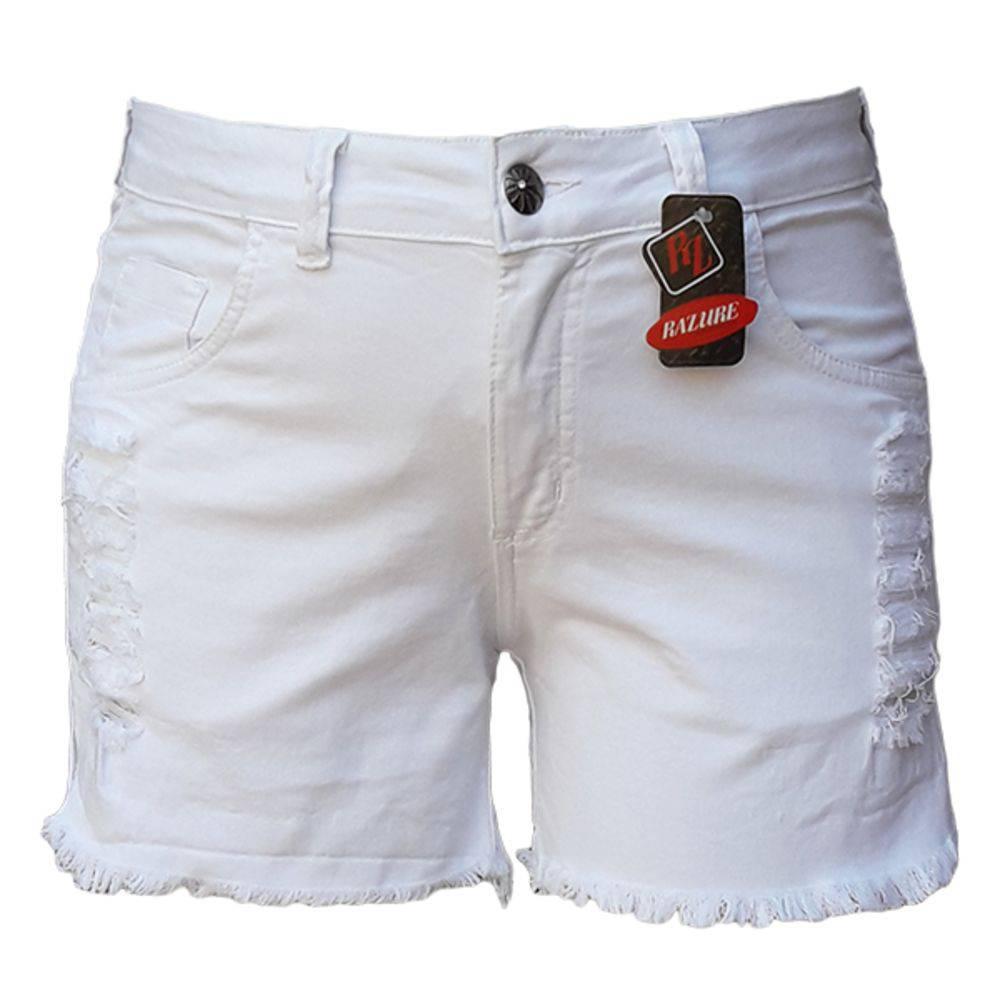 Short Feminino Branco Rasgado Plus Size