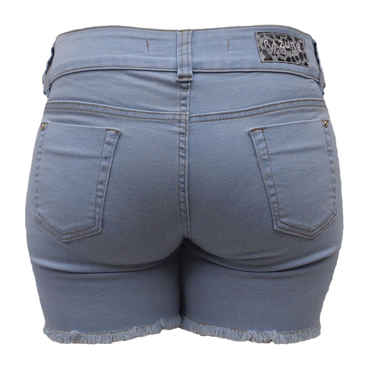 Short Jeans Delavê Frente Bordada de Paête Tamanho 46