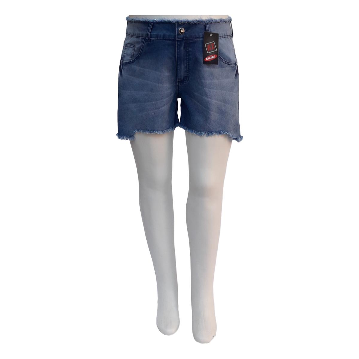 Short Jeans Feminino Barra Simétrica Cós Desfiado Plus Size