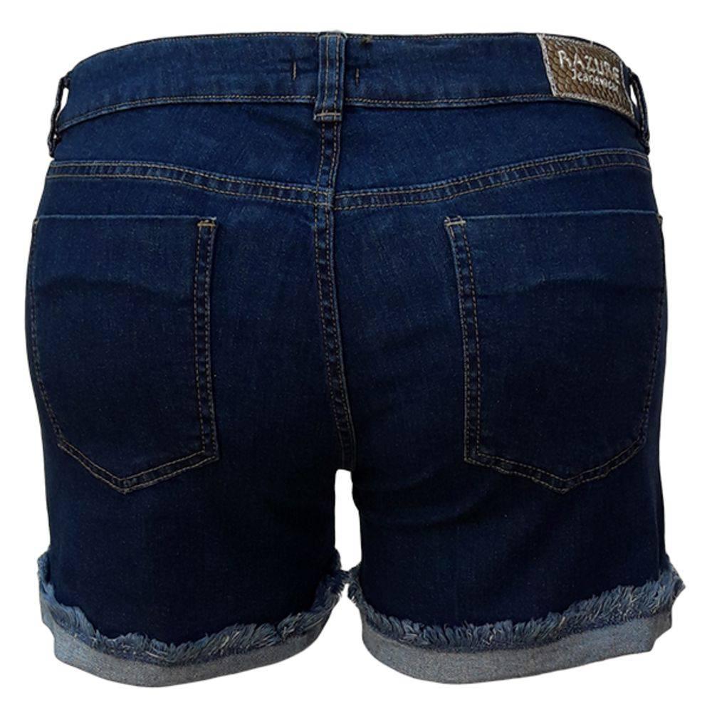 Short Jeans Feminino Barra Virada E Ilhós Plus Size