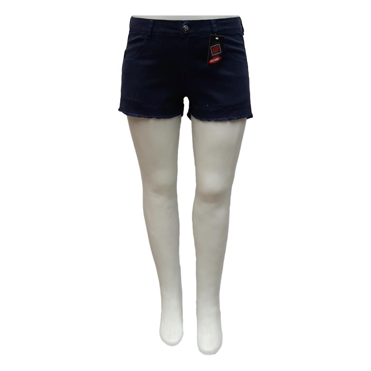 Short Jeans Feminino Color Curto Plus Size