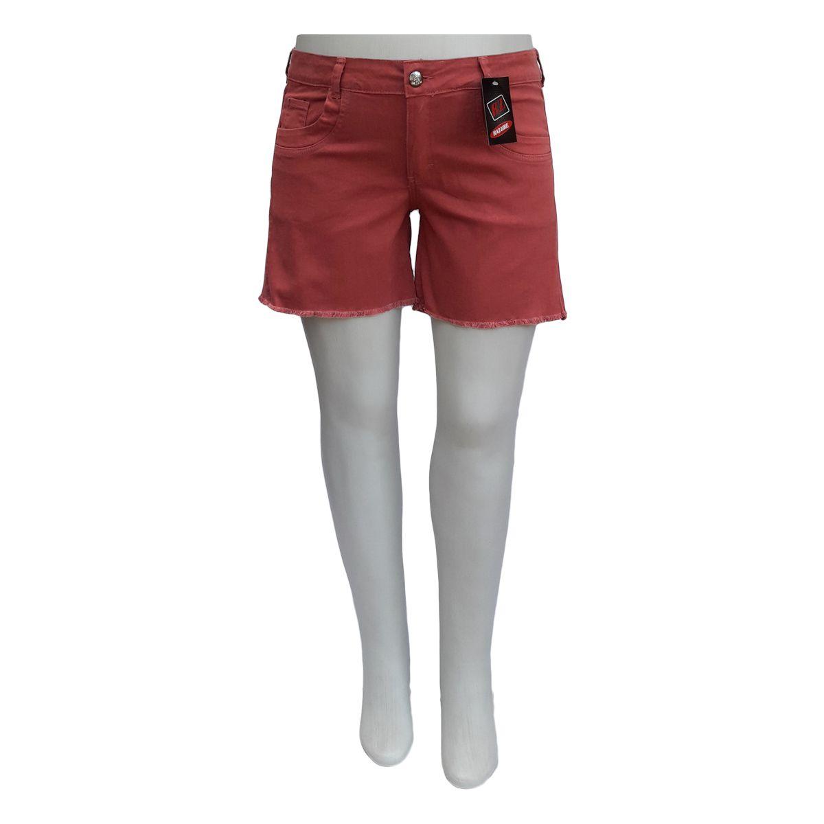 Short Jeans Feminino Color Plus Size Porcelana