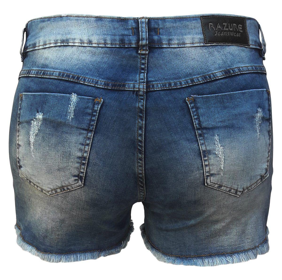 Short Jeans Feminino Curto Rasgado Com Pérola Plus Size