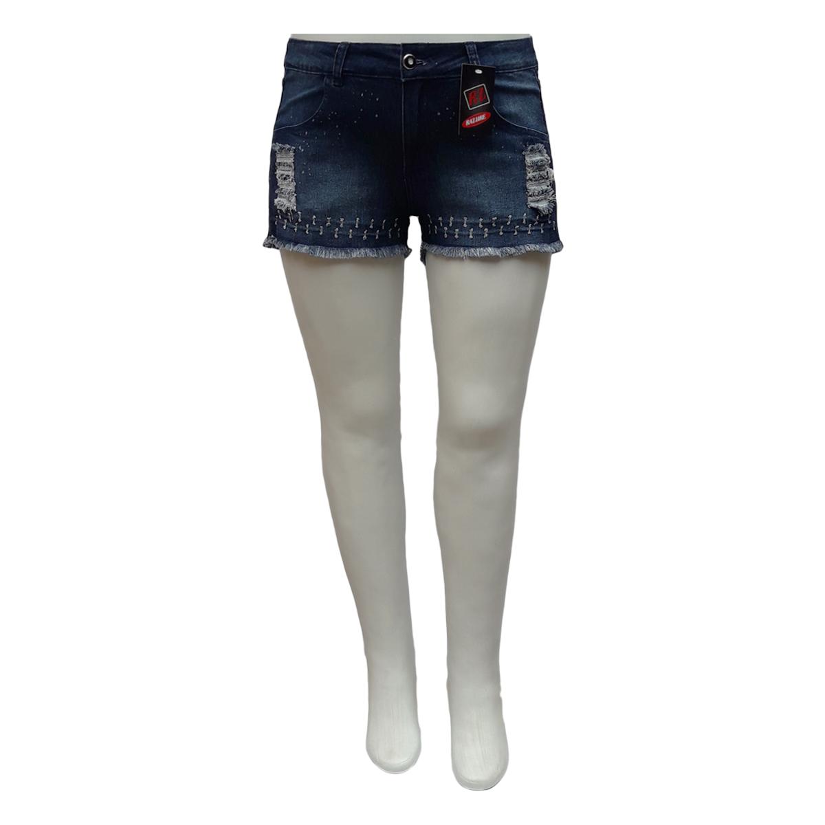 Short Jeans Feminino Curto Rasgado Plus Size