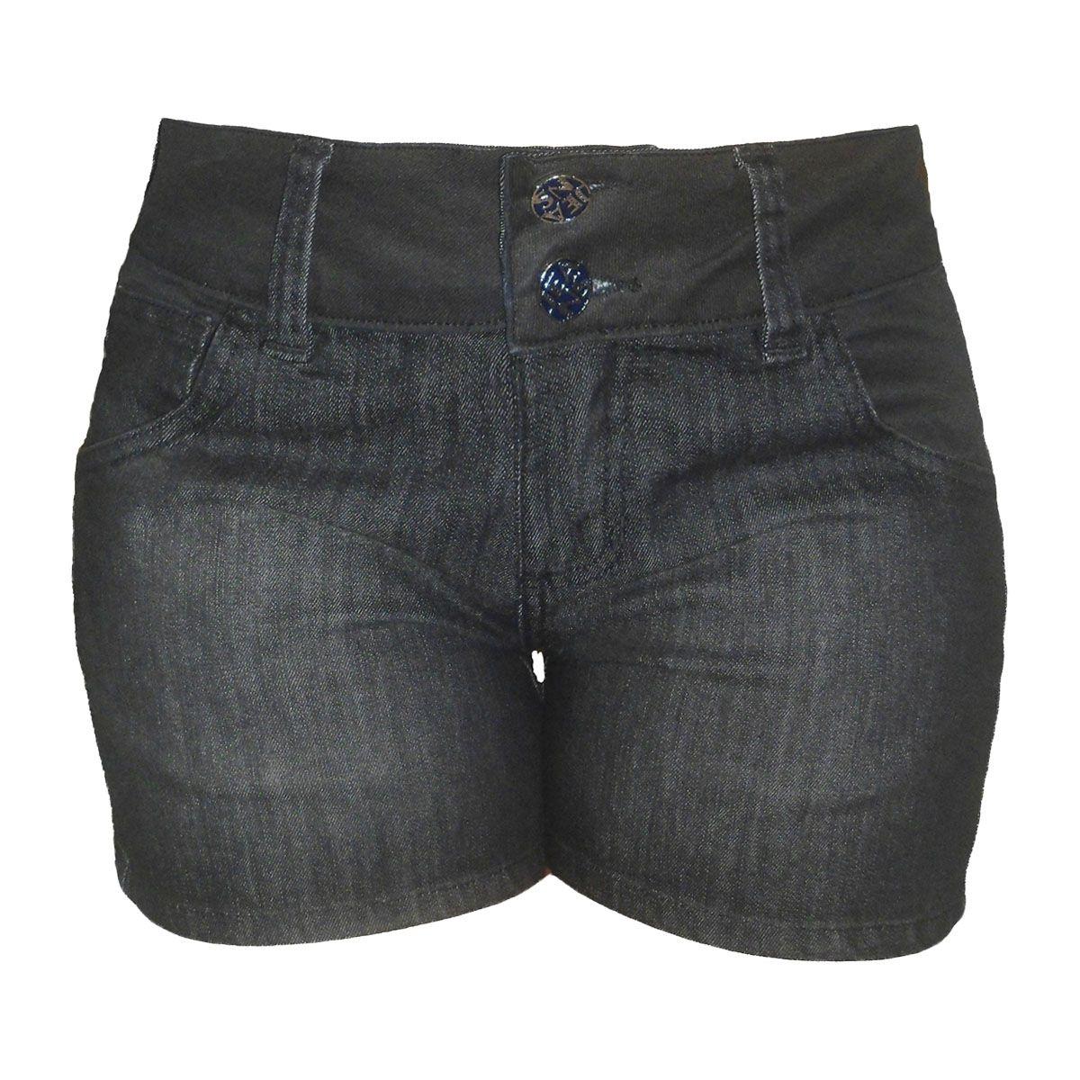Short Jeans Feminino Preto Cós Resinado Tamanhos 40 E 42