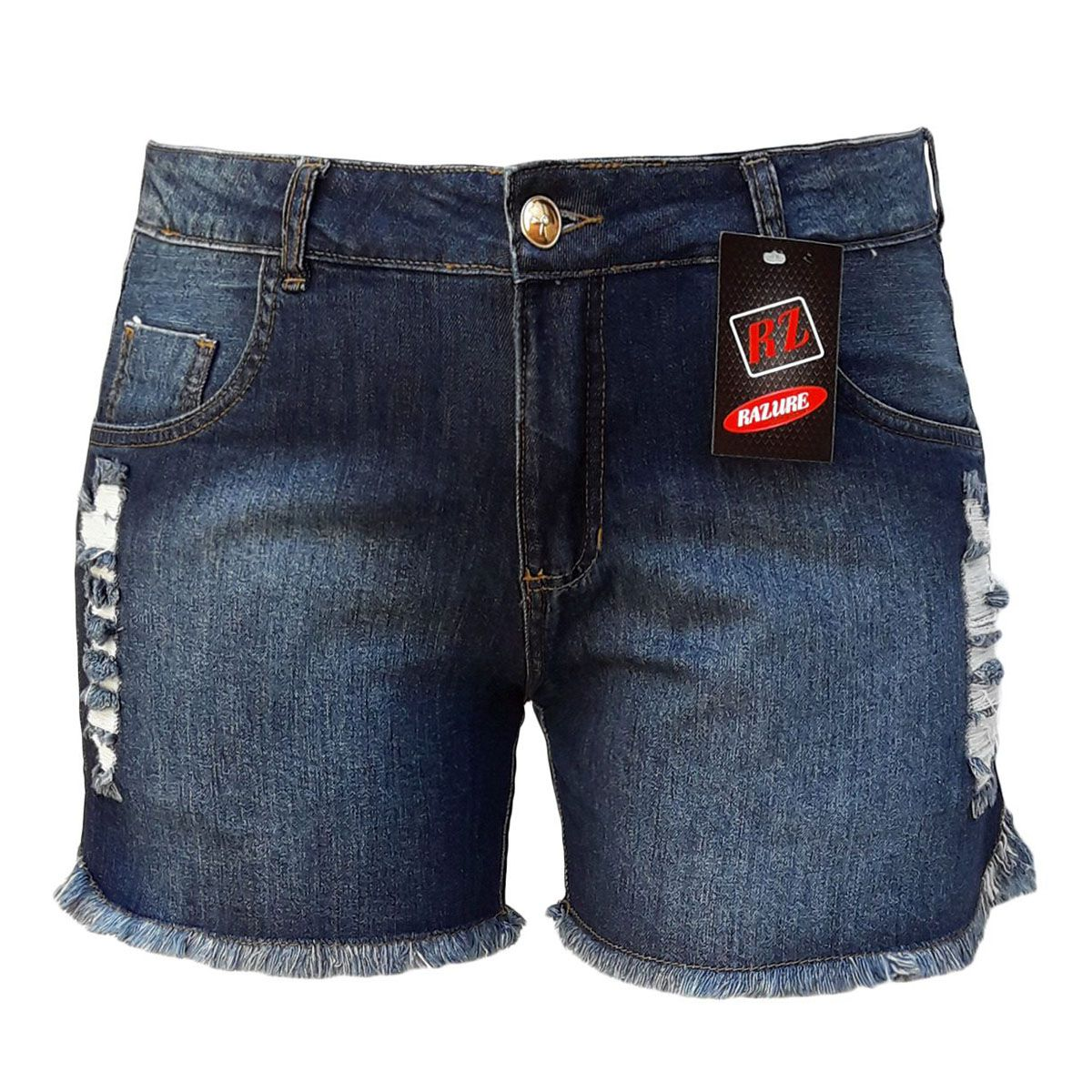 Short Jeans Feminino Rasgado Plus Size