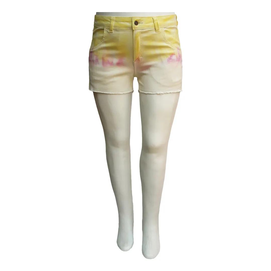 Short Jeans Feminino Tie Dye Curto Plus Size