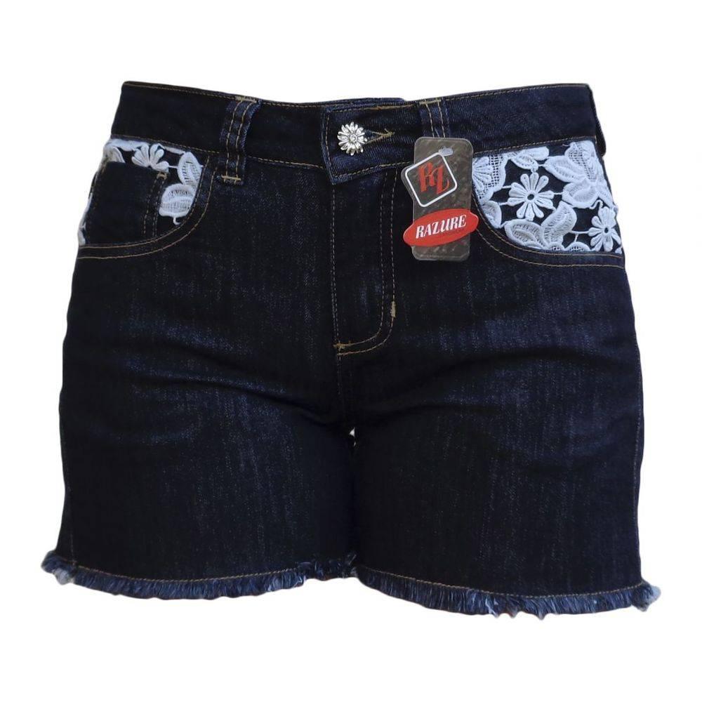 Short Jeans Preto Com Guipir Plus Size