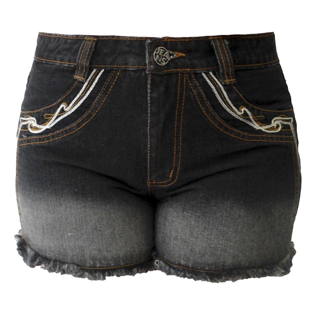 Short Jeans Preto Degradê Plus Size