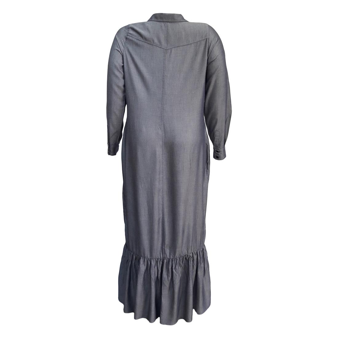 Vestido Chemisier Longo Denim Moda Evangélica Plus Size