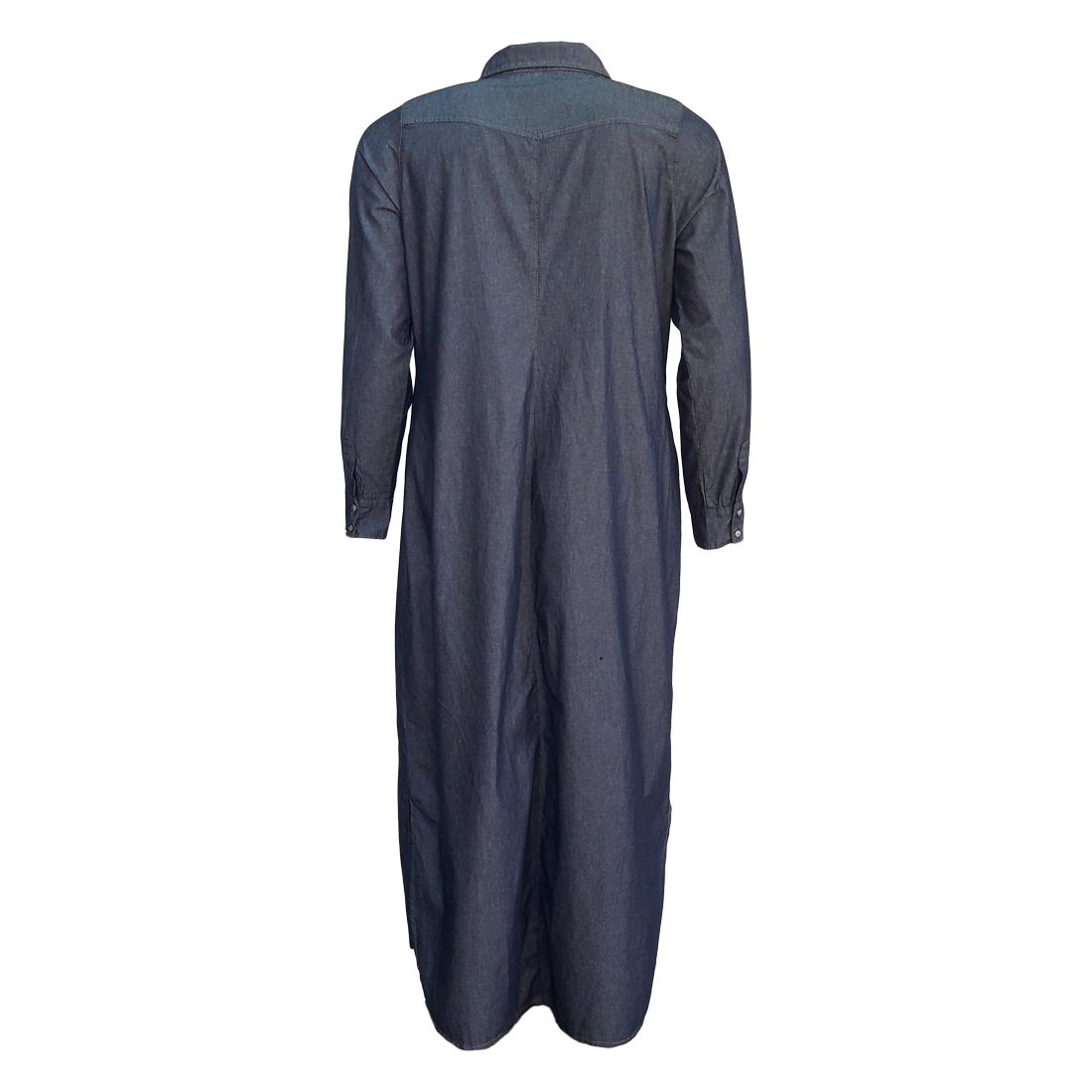 Vestido Jeans Chemisier Longo Moda Evangélica Plus Size