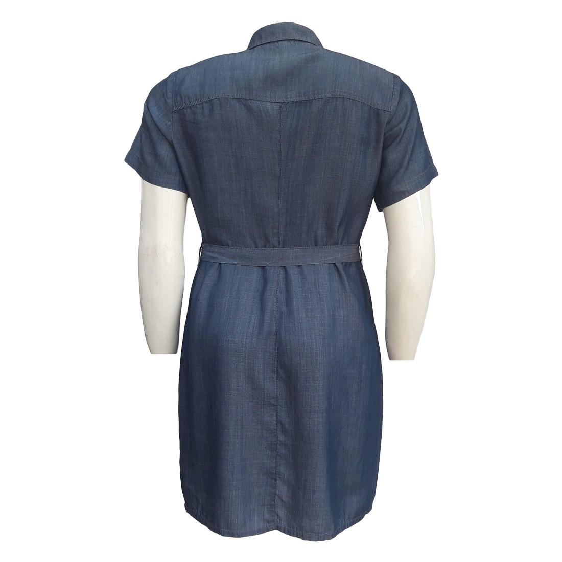 Vestido Jeans Liocel Chemisier Moda Evangélica Plus Size