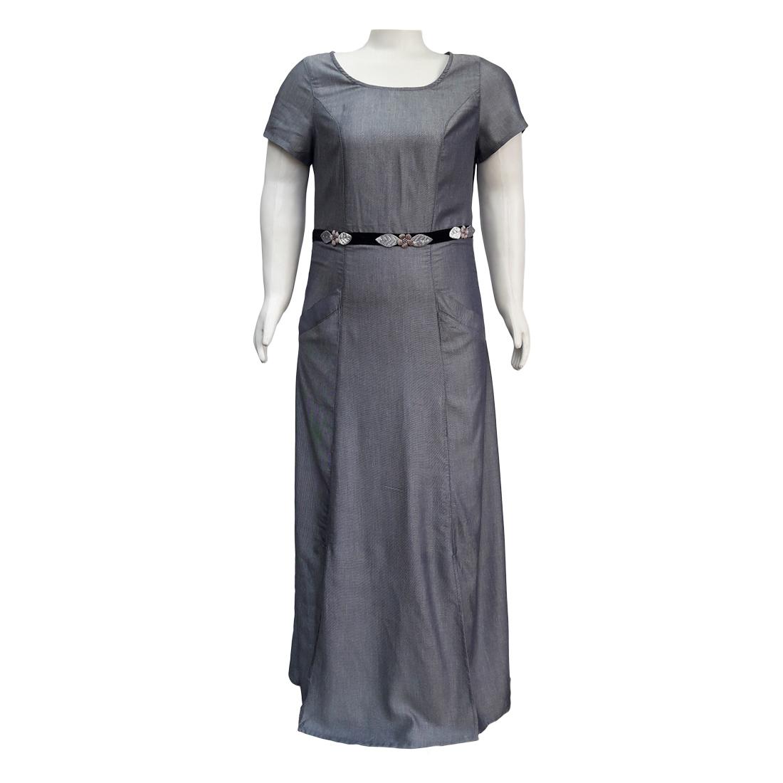 Vestido Longo Denim Viscose Moda Evangélica Plus Size