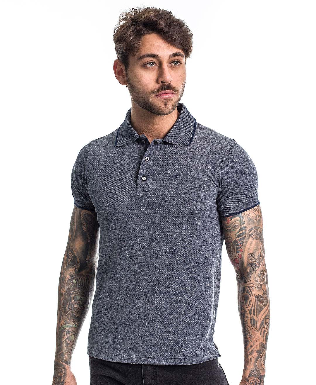 Camisa Polo Reborn Confort Mesclada Preta - Tflow