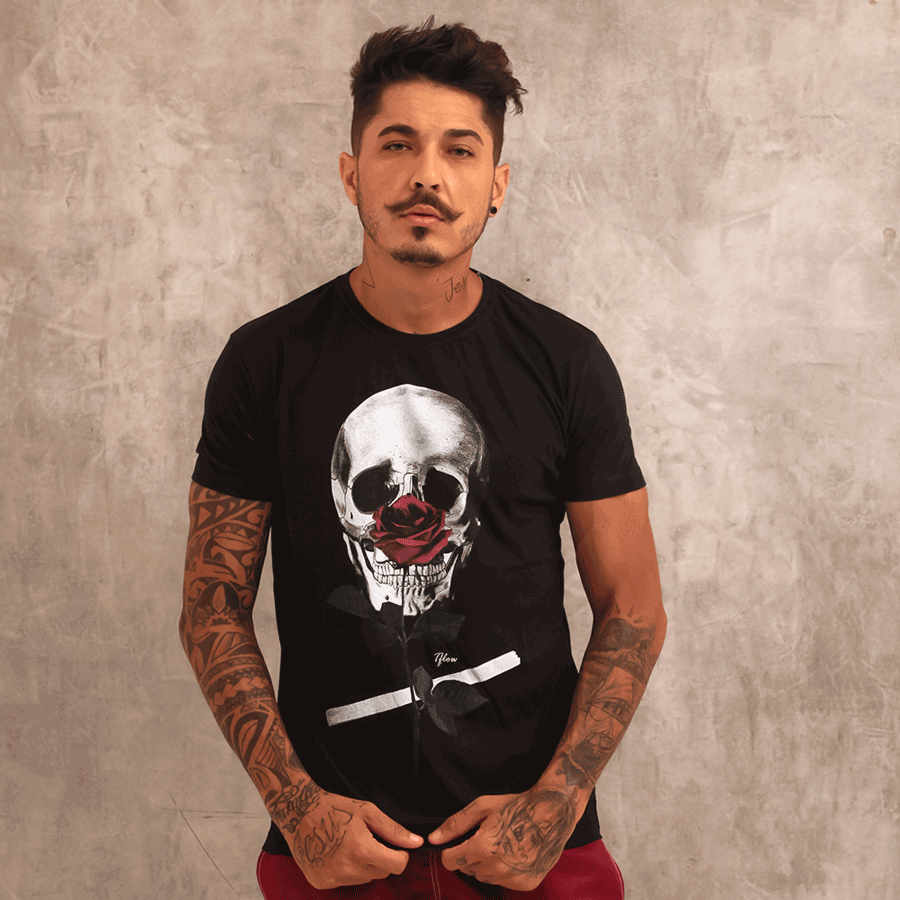 CAMISETA SKULL ROSE - TFLOW