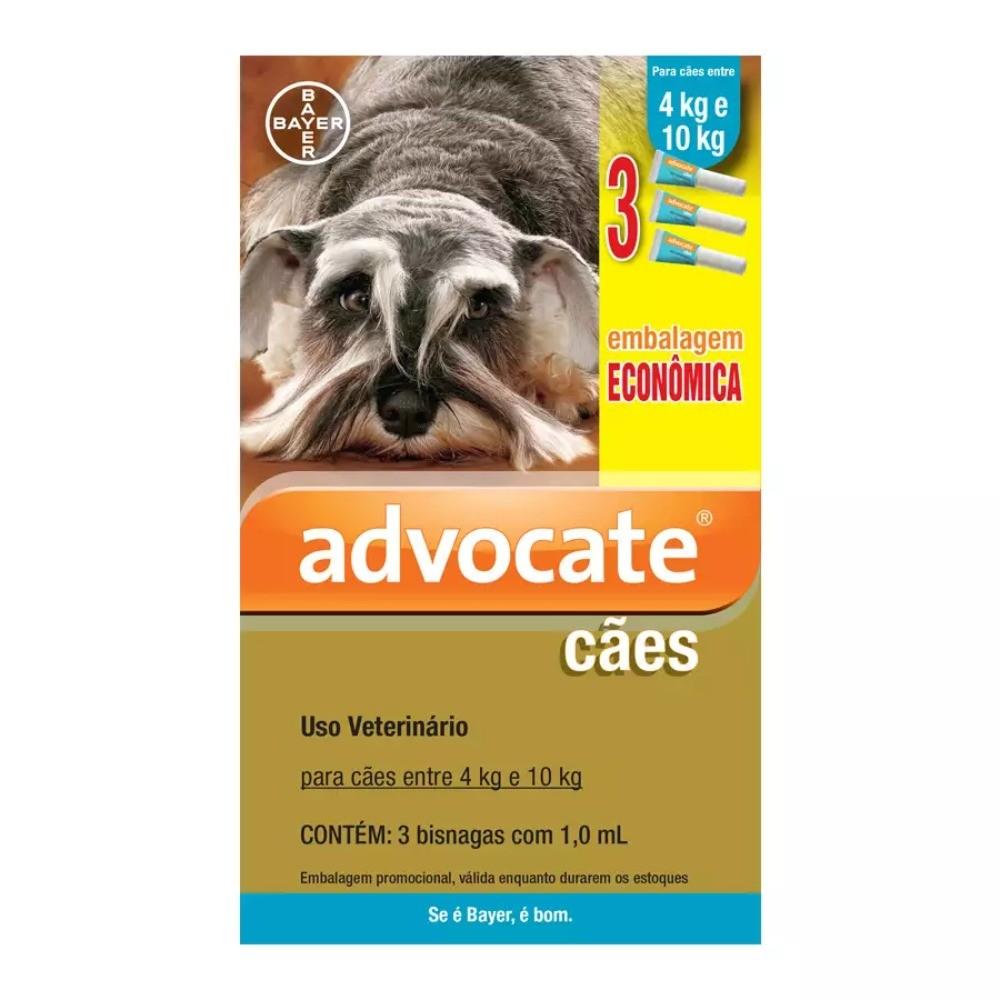 Antipulgas Bayer Advocate para Cães de 4 a 10 Kg - 1,0mL